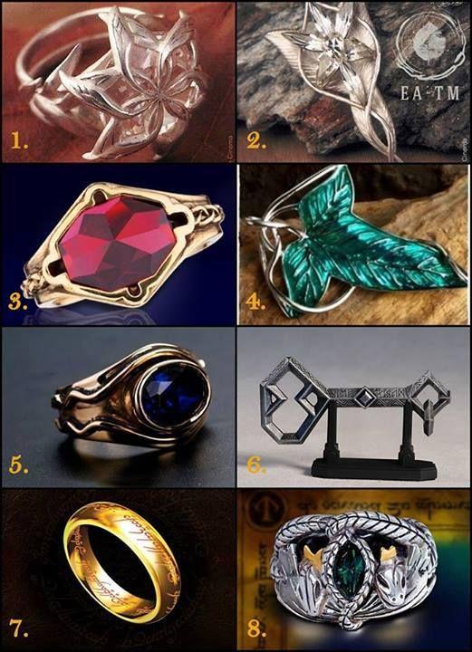 1-Nenya, Galadriel's Ring 2-Evenstar necklace Arwen 3-Narya, ring of Gandalf 4 Brooch of Lothlórien 5 Ring of Elrond Vilya 6 Key of Erebor 7 Ring to rule them all 8 Anel of Barahir ~ Aragorn