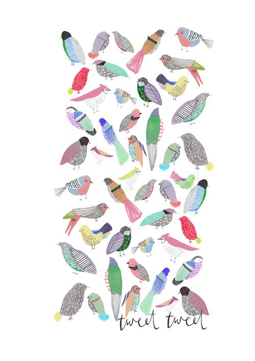 cutest illustration ever | bird illustration | Tumblr http://www.etsy.com/listing/113225932/childrens-art-the-birdies-limited?