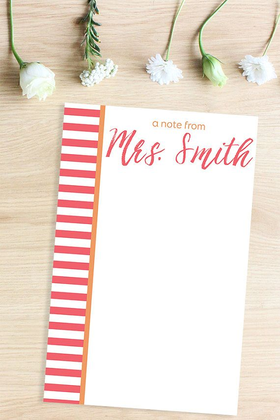 Gift Idea: Custom Notepad Customized Gifts, Bridal Shower Gift Custom Stationery, Personalized Stationary, Teacher Gift Personalized Notepad