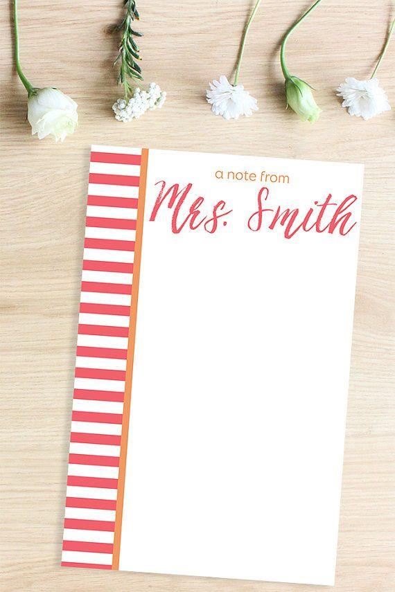 Gift Idea: Custom Notepad Customized Gifts, Bridal Shower Gift Custom Stationery, Personalized Stationary, Teacher Gift Personalized Notepad