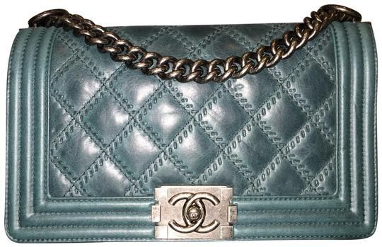 8a8e4c290458 Chanel Boy Medium Quilted Flap Double Stitch Teal Green Calfskin Leather  Cross Body Bag - Tradesy