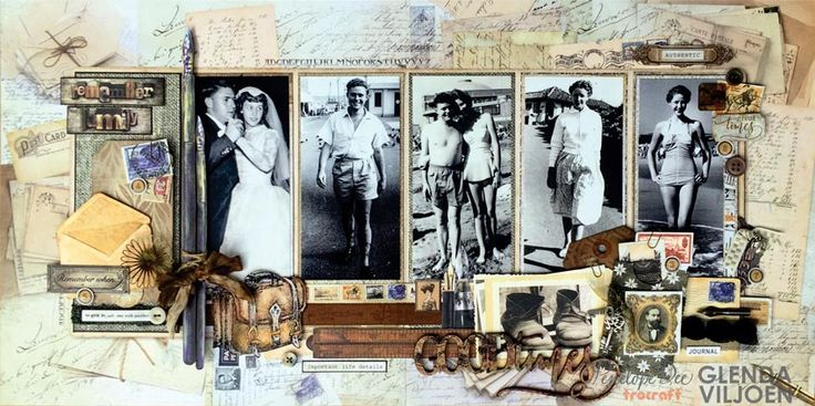 Good Times double-page layout with NOTABLE collection. The classic yet versatile colours and designs are perfect to pair with your old or new photos. Vintage images paired with a traditional colour palette to capture and document your memories.