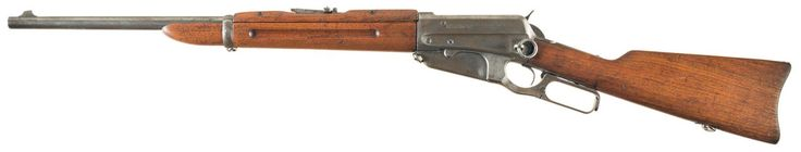 Winchester Model 1895 carbine  Designed by John M. Browning and manufactured by Winchester Repeating Arms Co. c.1895-1936 and then on order until 1940 - serial number 8455. .30-40 Krag five-round internal box magazine, lever-action repeater, saddle ring.