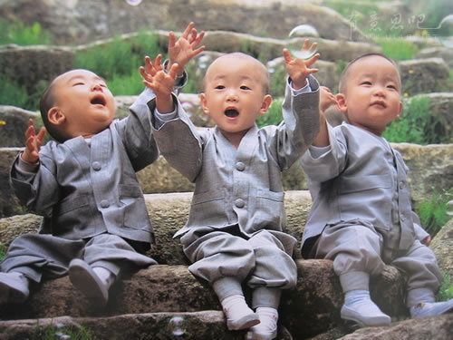 cute asian kids monk