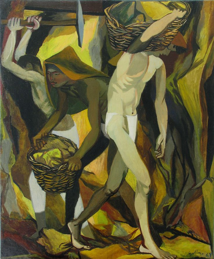 italian painter renato guttuso -Title: The Sulphur Miners Artist: RENATO GUTTUSO (Italian Expressionism 1912 – 1987) Century: Signed and Dated 1949. Medium: Oil on Canvas