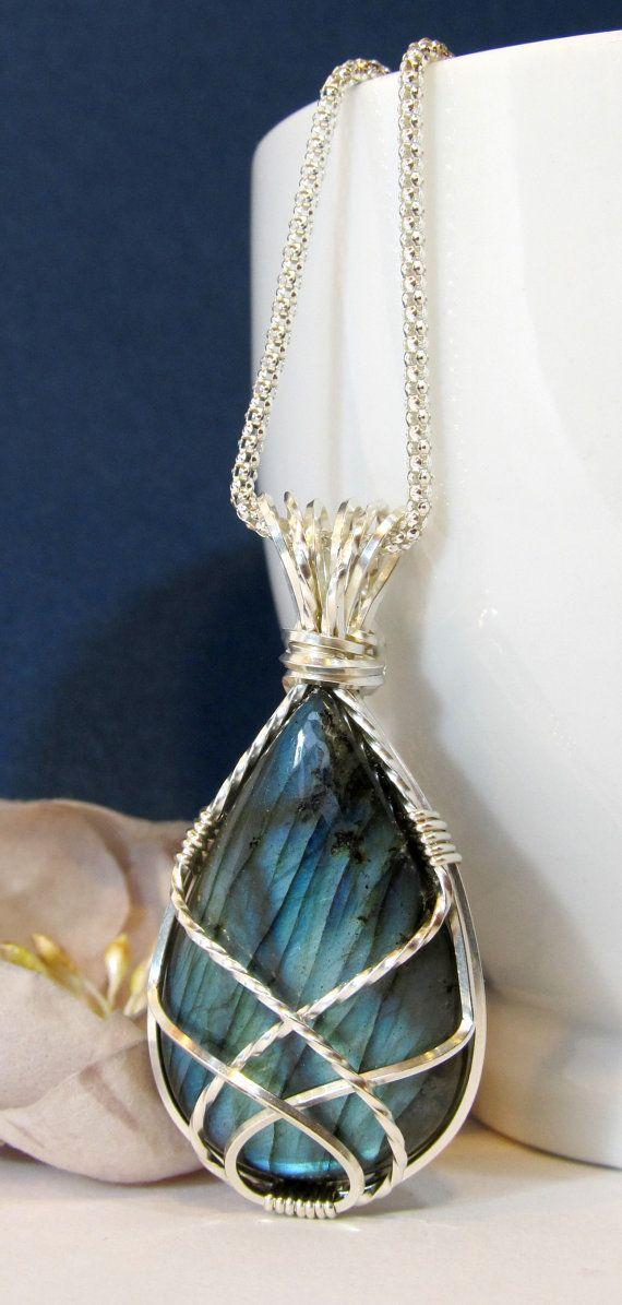 Labradorite Wire Wrapped Pendant Semi-Precious by BellaDivaBeads