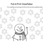 Pick and Print Snowflakes is a printable center activity for prek or kindergarten students.  Your students choose a snowflake card that has either ...