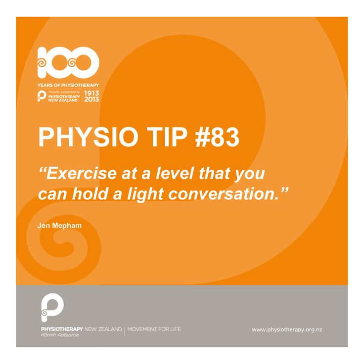 #physio tip: exercise at a level where you can hold a light conversation.
