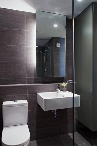 tile wall in bathroom - looks like Emser Strands or Daltile Fabrique