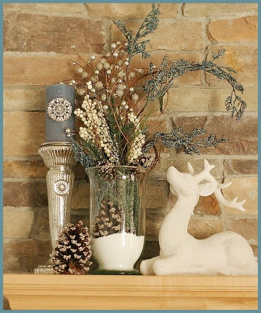 Lovely decorating idea (Good for Christmas or just a winter table or mantel decorating...