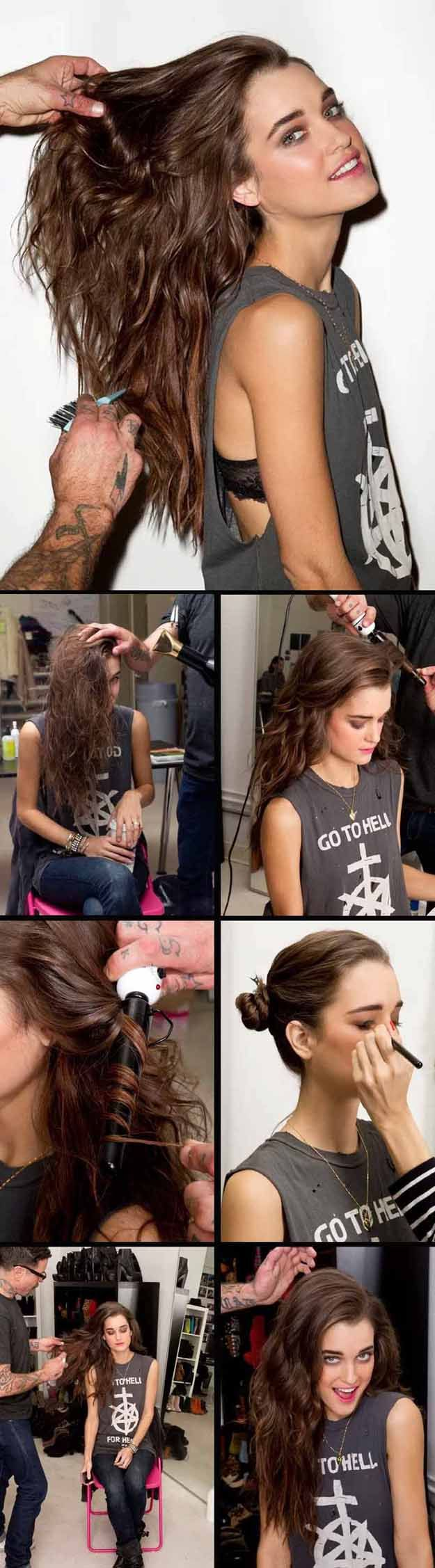 Long Wavy Hairstyles - Big Messy Waves - Beautiful Long Layered Haircuts And Long Wavy Haircuts With Layers And With Bangs. Half Up Bob Tutorial For Wedding, Prom, Or For Homecoming. No Heat Wavy Hairstyles That Are Gorgeous And Natural. Black, Blonde, And Brunette Long Wavy Hairstyles For Round Face, With Braid, With Ponytail, and With Medium Length Hair. DIY Ideas For That Boho Look, Or Updos For Medium Length Hair. Add More Volume For Thin Hair With Waves And Curls…