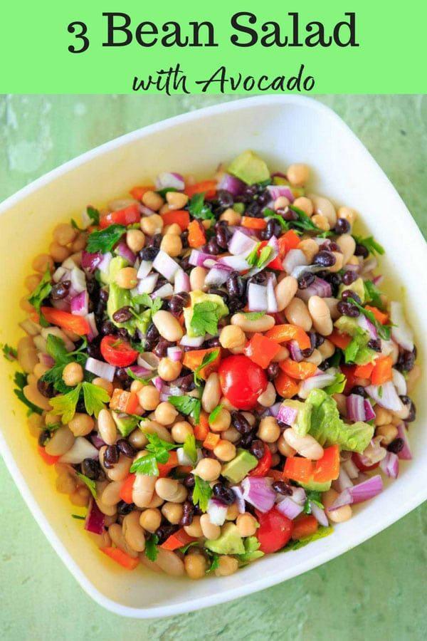 Three Bean Salad With Avocado Vegetables And Herbs A Flavorful Vegan And Gluten Free Side Dish Perfect For A P Bean Salad Three Bean Salad Vegetarian Recipes