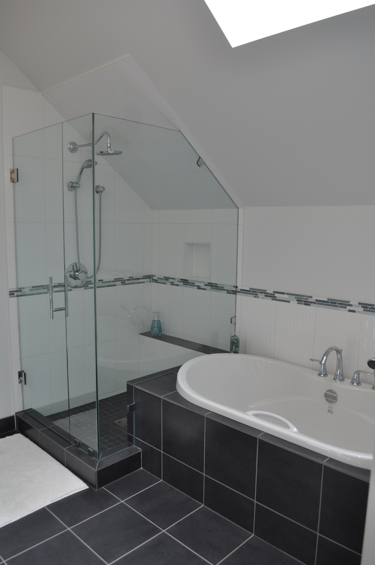 Lesscare clear glass shower door ultra b 44 48 wide x 76 high chrome - Vaulted Ceiling Bathroom Shower Combination