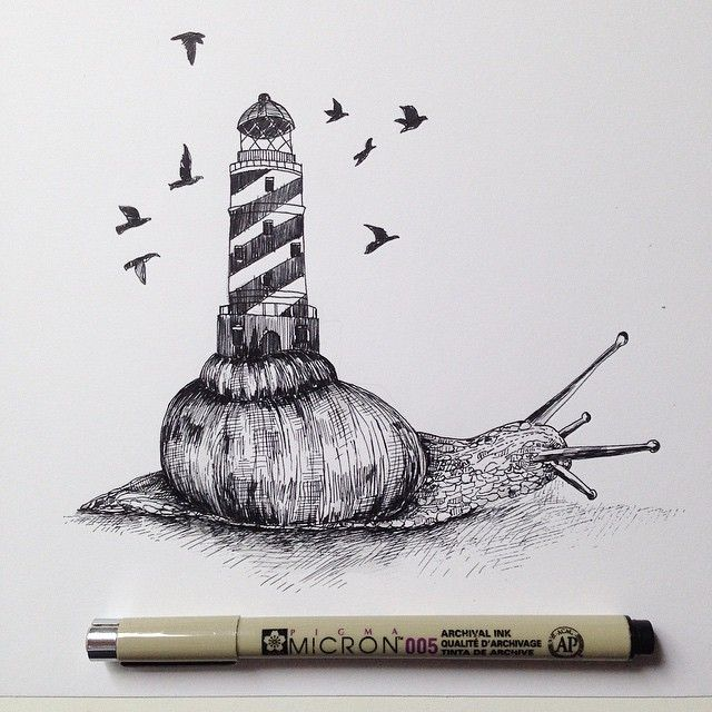 Snail lighthouse Ink © Alfred Basha