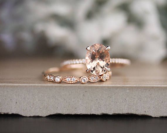 c055d736c2413 Affordable Wedding Ring Set with 9x7mm Oval Morganite and Diamonds ...