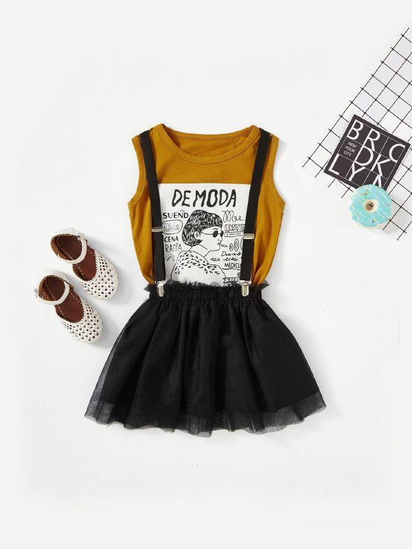 be3463a2f7da Figure Print Tee With Mesh Skirt -SheIn(Sheinside)
