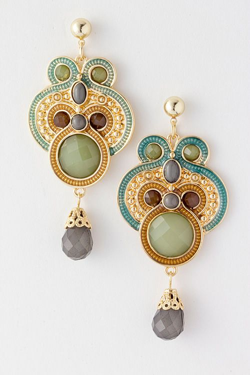Olive Athena Chandelier Earrings on Emma Stine Limited