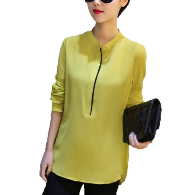 Fun Orange Autumn Fashion Chiffon Long Sleeves Women Formal Blouses Bodysuit Office work Blusas Slim Shirts Ladies Simple Tops