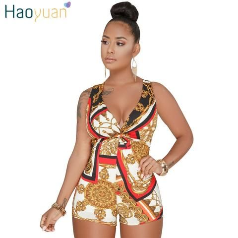 4a7abe624055 HAOYUAN Plus Size Sexy Playsuit One Piece Summer Overalls Casual Bodysuit  Deep-V Neck Bodycon Shorts Rompers Womens Jumpsuit