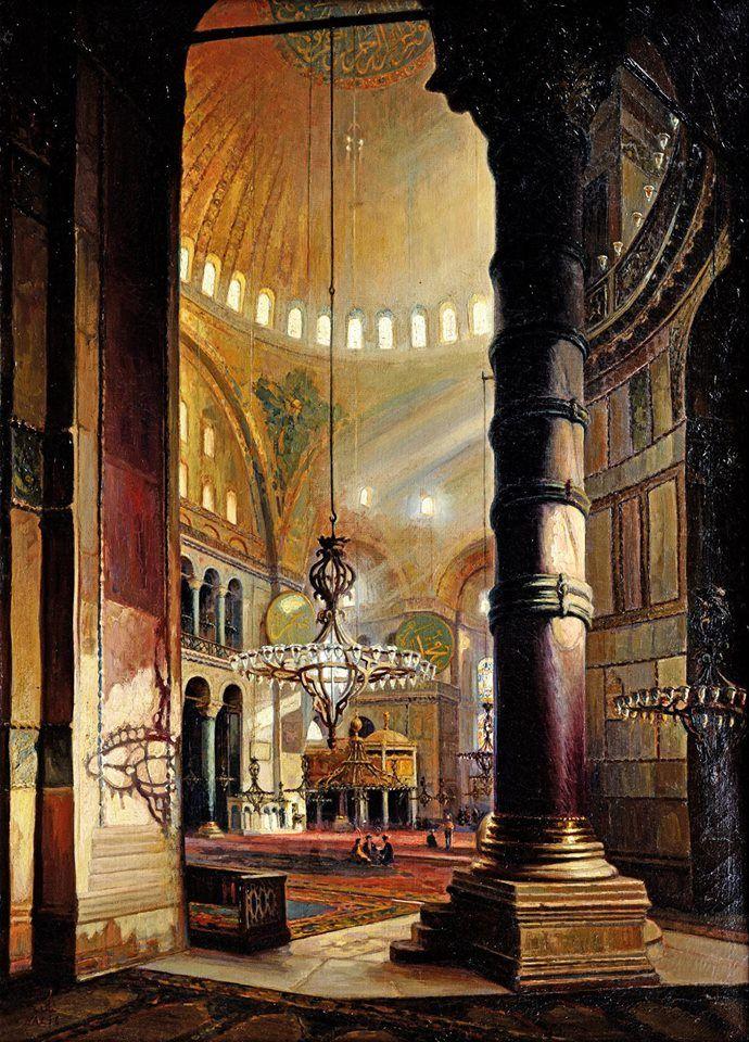Halid Naci (1875-1927)   Ayasofya Cami İçi Tuval üzerine yağlıboya