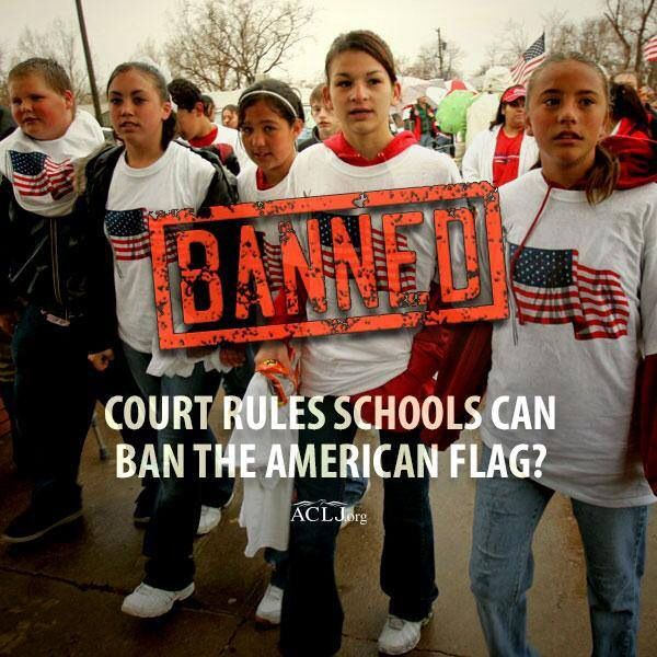 """The ninth circuit court of appeals said the American flag had to go because the kids displaying it were being threatened. They punished patriotism, not the perpetrators."" Sign & share our petition to protect the American flag. Jay Sekulow @ ACLJ.org wear your American flag gear & colors on cinco de mayo to support THE UNITED STATES."