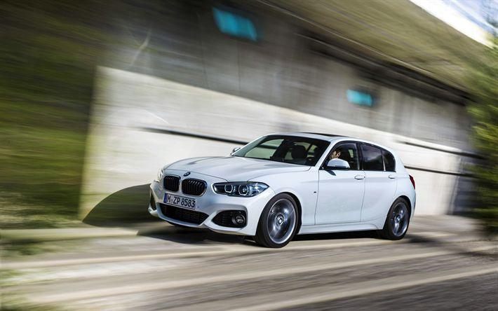 Download imagens BMW Série 1, F20, 4k, 2017 carros, movimento, BMW
