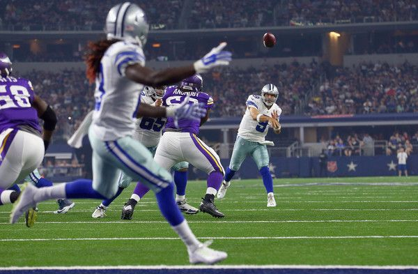 Tony Romo Photos Photos - Tony Romo #9 of the Dallas Cowboys connects a touchdown pass to Lucky Whitehead #13 of the Dallas Cowboys to score against the Minnesota Vikings in the second quarter on August 29, 2015 in Arlington, Texas. - Minnesota Vikings v Dallas Cowboys