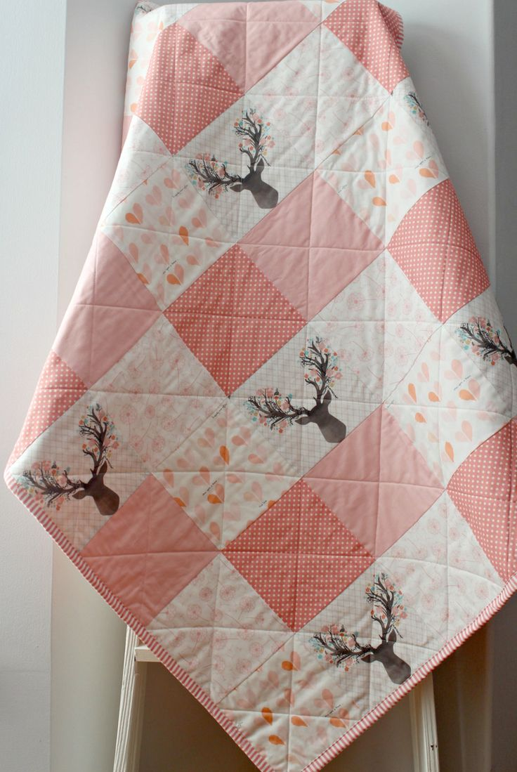 Baby Quilts Handmade, Baby Girl Quilt, Woodland Nursery, Homemade Quilts, Blush Baby Quilt, Woodland Nursery Bedding, Baby Quilts For Sale by LittlebCottonShoppe on Etsy