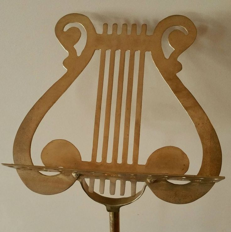 Vintage Brass Lyre Sheet Music Stand, 1940's Adjustable Harp Scroll Lyre Music Floor Stand by EmptyNestVintage on Etsy