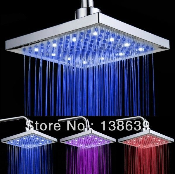 200*200*18 мм насадка для душа, Температура Воды Цвет Изменение Ручной Душ, Теплый Тропический Душ, бесплатная доставка