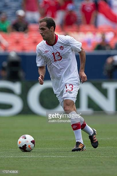 Pedro Pacheco Melo of Canada in action against Panama during the first half of a CONCACAF Gold Cup match at Sports Authority Field at Mile High on...
