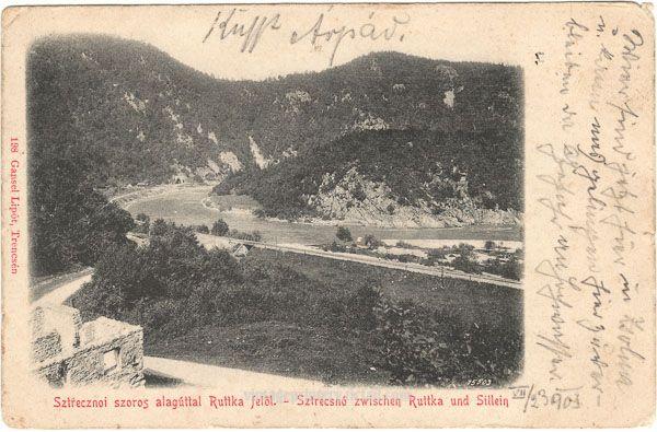 Pohľadnica Strečno, Sztreczno cca 1900