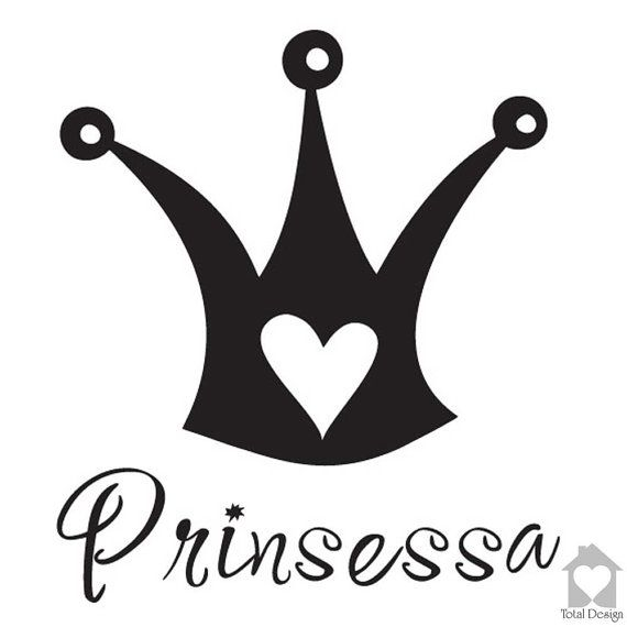 Prinsessa - Vinyl Wall Decal, Vinyl Wall Decor, Vinyl Decal, Wall Decal, wall stickers, väggord, väggtext, väggdekor, 519_