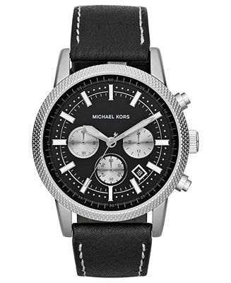 I really love this one! Michael Kors Watch, Men's Chronograph Scout Black Leather Strap 43mm MK8310 - Men's Watches - Jewelry & Watches - Macy's