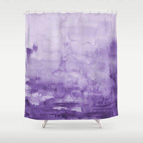 Purple Watercolor Shower Curtain Eggplant Purple Unique Ombre
