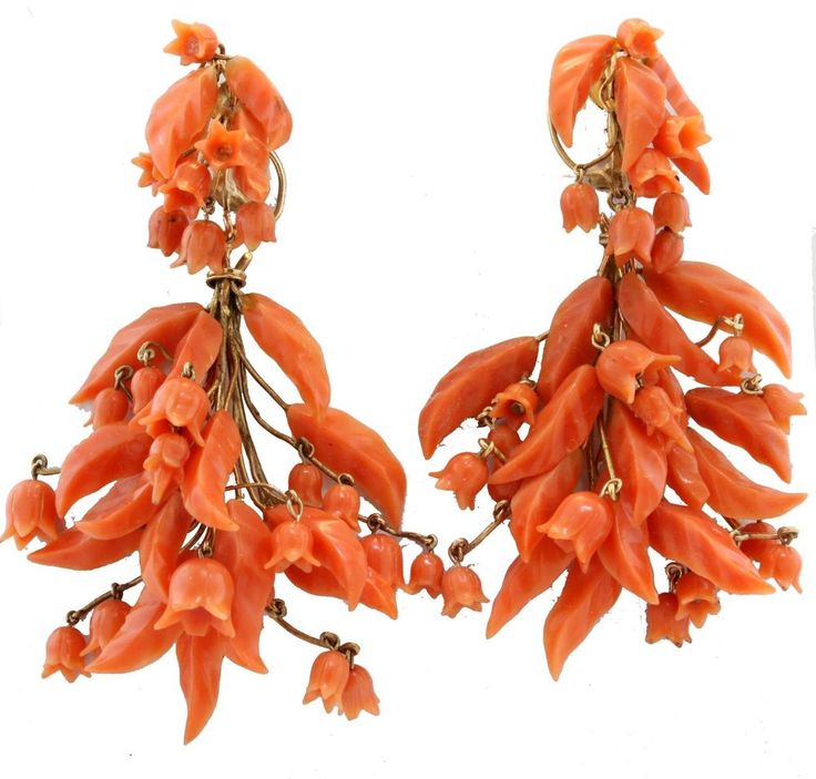 Antique 1810 Georgian Victorian 14k Gold Carved Salmon Coral Day Night Earrings! #Bishop #ChandelierDayNight