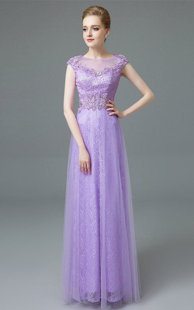03907ab4110 Vimans Long Purple Beaded Bridesmaid Wedding Dress for Evening Party 2      See this