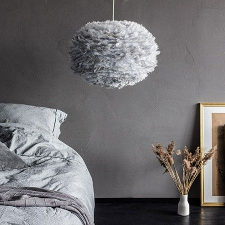 Aurora Vita Eos Feather Pendant Shades in Grey - Lamp Shades - Lighting Accessories - Lighting & Mirrors