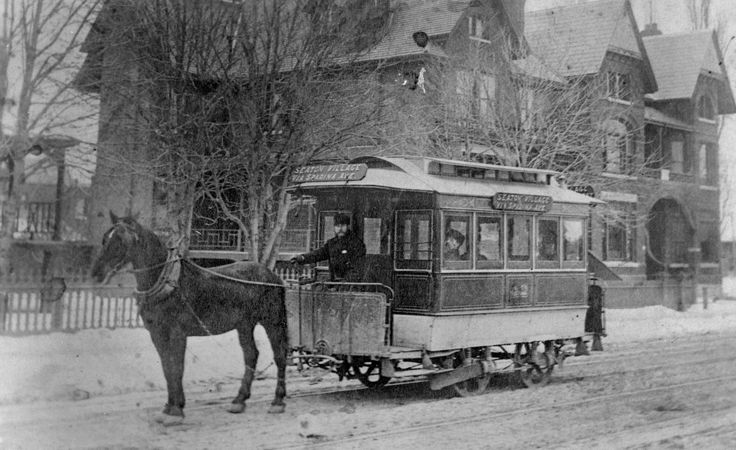 The horse-drawn streetcar, predecessor of the modern-day electric ones. This one covered the Seaton Village route. It's pictured on Spadina Ave., between College and Bloor, some time in the 1890s.