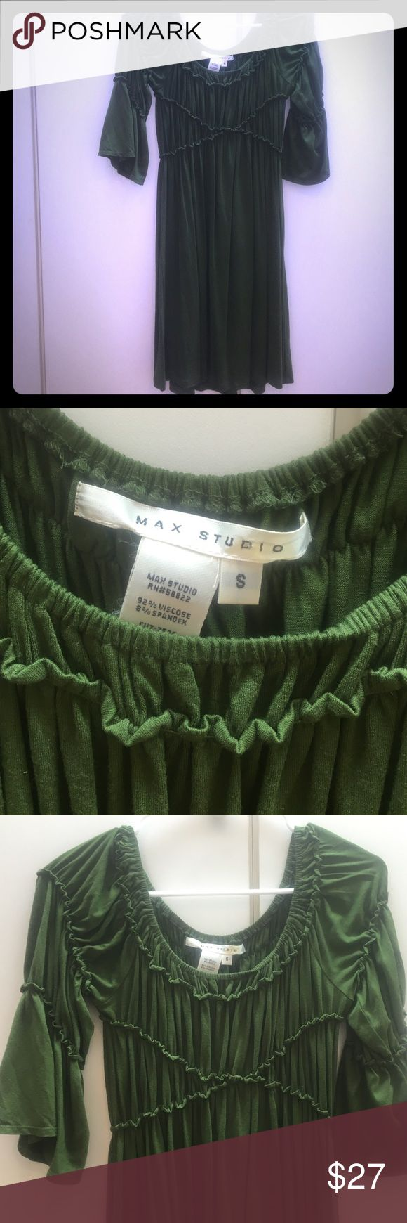 Gorgeous green Max Studio dress!!!💚 Beautiful clover, green empire waist Max Studio dress!  Knee length, puckered and ruffled around torso for a flattering fit, and bottom drapes softly...great with boots! 3/4 sleeves, adorable baby doll type dress! Gently used in perfect condition! Max Studio Dresses Midi