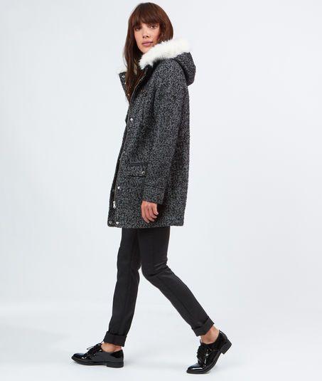 Manteau en laine, capuche fausse fourrure de chez Etam