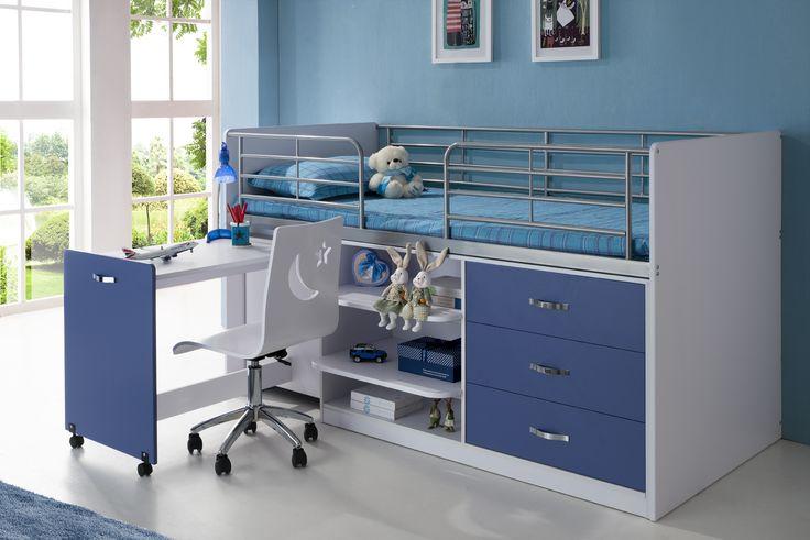 Afbeeldingsresultaat voor blauw bed met blauwe kast