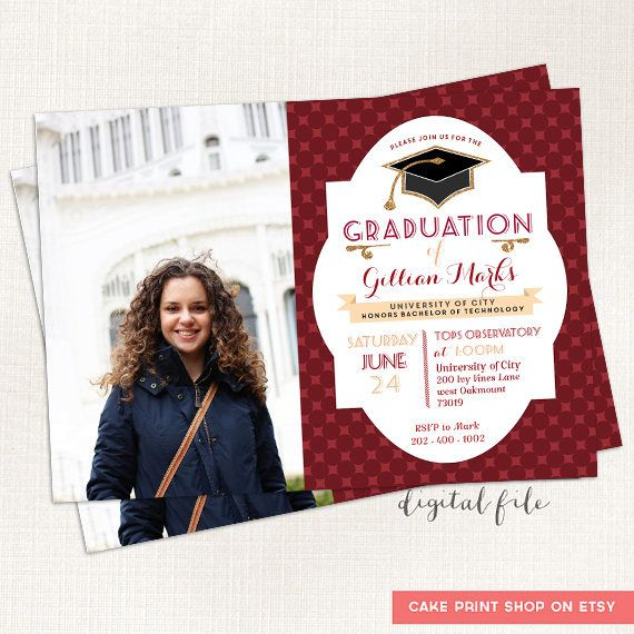 Red Graduation Announcement, College Grad Printable Grad photocard, Class of 2017 invite, Graduation Crimson, Graduation party invitation  Wording may be changed! School/ Diploma/Degree name can be added. Red / Crimson color can be edited.  ( See Grad section https://www.etsy.com/shop/CakePrintShop?section_id=16308690&ref=shopsection_leftnav_3)  DETAILS: 5 by 7 printable photo card design (JPG or PDF)  PROCESS * Turn-around time is 8-48*  1. P...