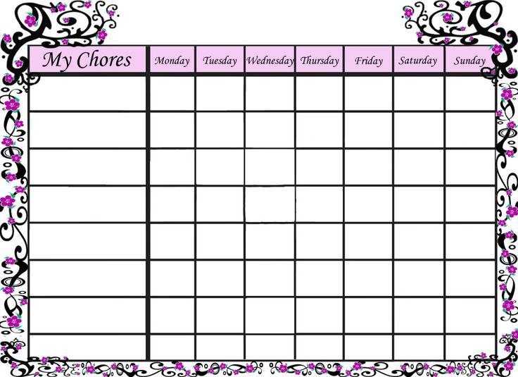 free blank chore charts templates family chore chart template free image search results to
