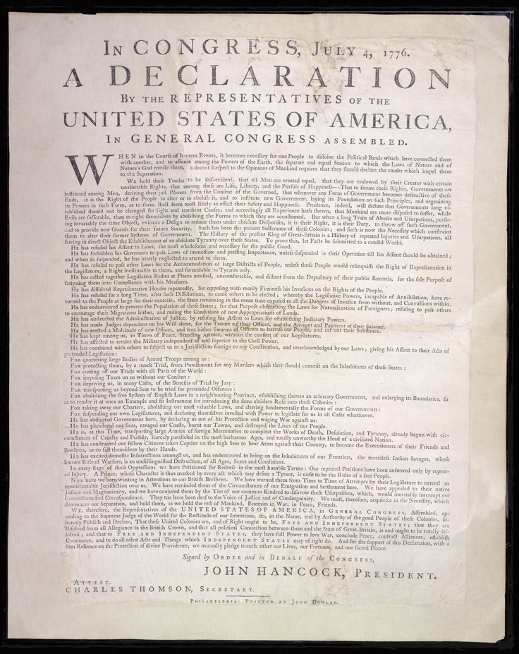 july 4 1776 - united states declaration of independence