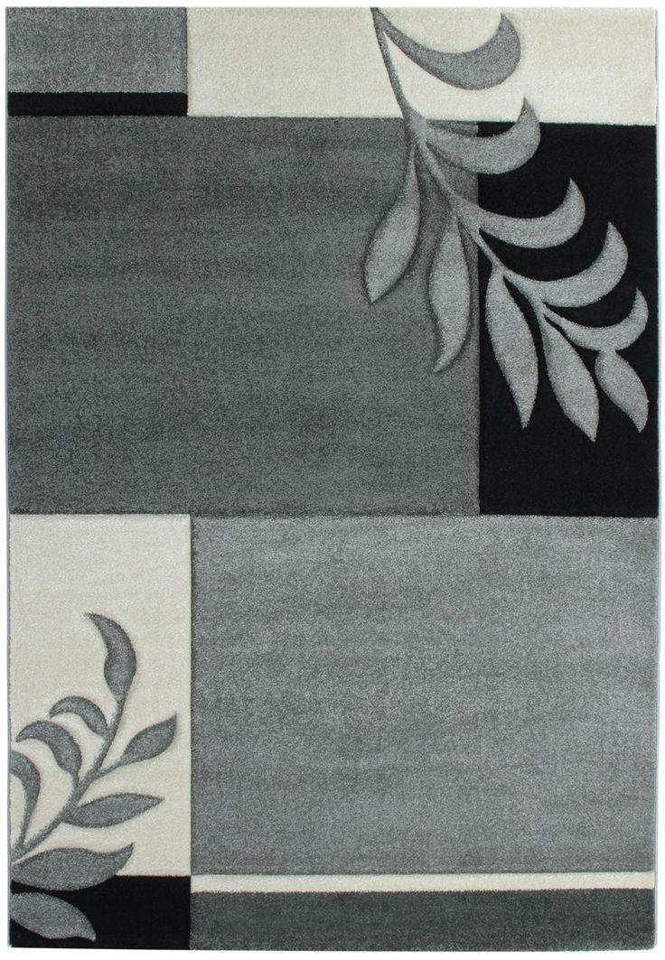 Moderner Designerteppich In Grau Blumenmotiv   Moderne Wohnzimmerteppiche    Markenhersteller Sehrazat   Moderne Design Teppiche Floral