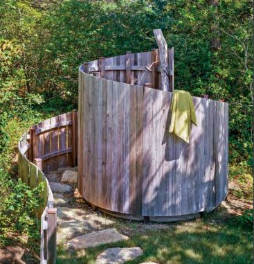This charming spiral shower shields the body while allowing views out. And it looks like fun.