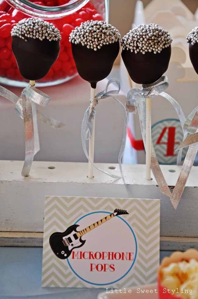 Guitar Rock Star 4th Birthday {Boy Party Ideas} - Spaceships and Laser Beams- The Mic Pops