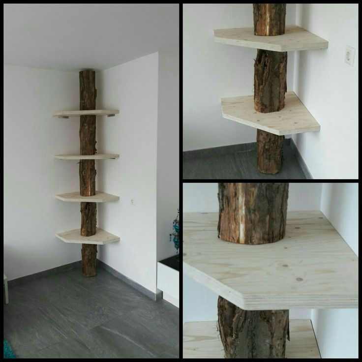 Boekenkast/ hoekkast/ boomstam met planken