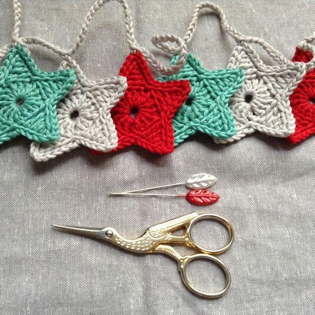Crochet Star Garland- Mint, Silver, Red £12.00